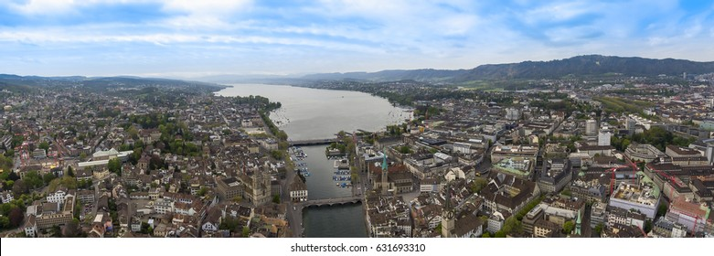 The New Aerial Panoramic View of Zurich Cityscape in Switzerland