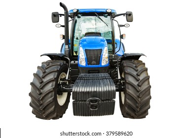 New agricultural blue tractor isolated on white background with clipping path