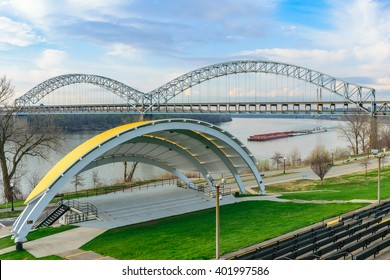 NEW ALBANY, INDIANA, USA - MARCH 27 2016: The Sherman Minton Bridge spans the Ohio River between Louisville Kentucky and New Albany Indiana.