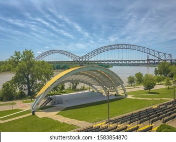 New Albany, Indiana/USA-December 9, 2019: A view of the Sherman Minton Bridge over the Ohio River-Controversy on shutting down the bridge