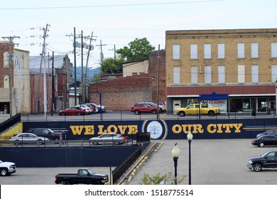 New Albany, Indiana/USA-September 30, 2019: We love our city sign in Downtown New Albany, Indiana