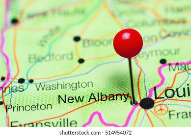 New Albany pinned on a map of Indiana, USA