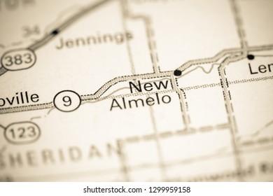 New Almelo. Kansas. USA on a map