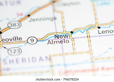 New Almelo. Kansas. USA on a map