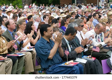 New American citizens applaud at Independence Day Naturalization Ceremony on July 4, 2005 at Thomas Jefferson's home, Monticello, Charlottesville, Virginia.