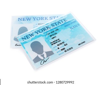 New American driving licenses on white background