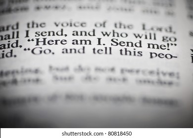 "The New American Standard Bible Open To Isaiah's Commission In Chapter 8 Verse 6; ""Here I Am. Send Me!"""
