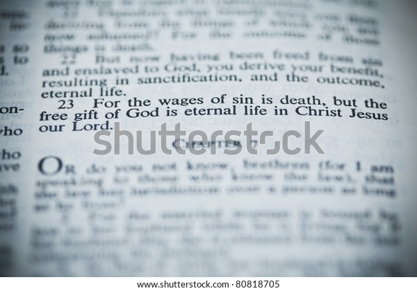 The New American Standard Bible Open To Romans 6:23