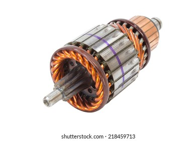new anchor motor - starter and generator. Photo on a white background