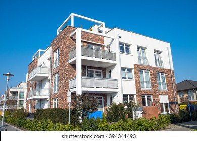 New apartment building with balconies seen in Germany