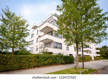 New apartment building, modern residential development with outdoor facilities