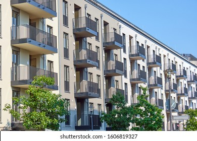 New apartment buildings with balconies seen in Berlin, Germany