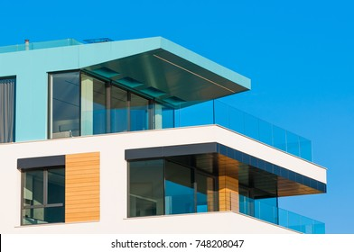 New apartment glass balcony terrace of modern architecture house