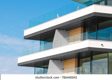 New apartment glass balcony terrace of modern architecture house by the sea