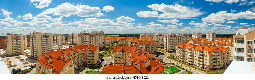 New apartment high buildings. Cheap accommodation on the outskirts of the city. Panorama