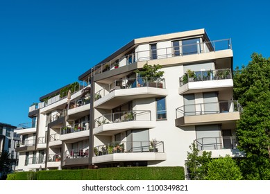 New apartment house on a sunny day in Munich, Germany