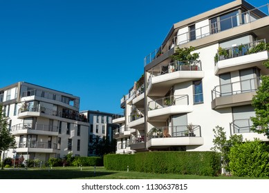 New apartment houses with blue skies seen  in Munich, Germany