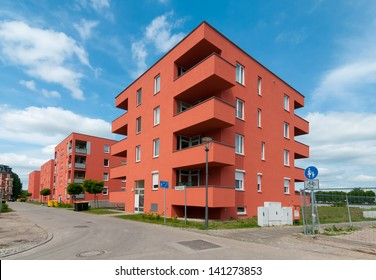 New apartment houses in Frankfurt / Oder, in the eastern part of Germany, directly at the river Oder