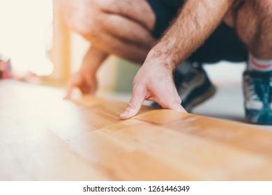 New apartment renovation finishing work - flooring - parquet flooring