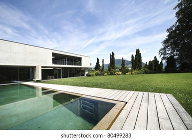 new architecture, beautiful modern house outdoors