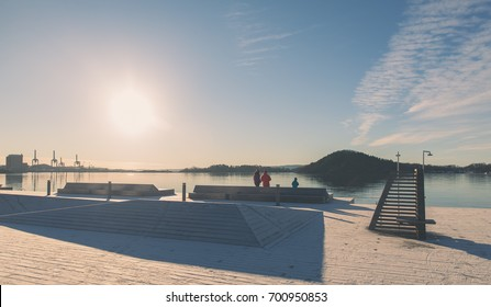 The new artificial swimming area and recreational park of Oslo, Norway during winter time with frozen fjord