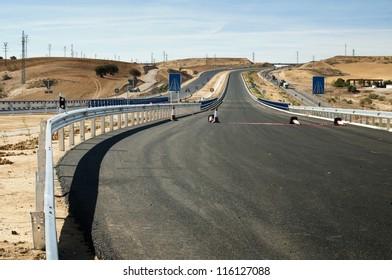 New asphalt highway road. Black asphalt