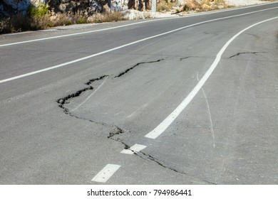 New asphalt road with a big crack