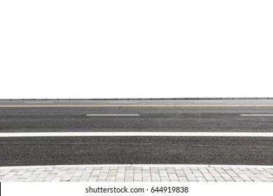 New asphalt road on white background