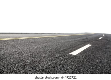 New asphalt road on white background