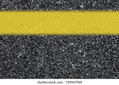 New asphalt road and yellow line