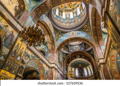 New Athon, Abkhazia - June 10, 2015: Cathedral of St. Panteleimon the Great Martyr in the New Athos Monastery. The cathedral, built in 1888-1900, is the largest monastery of Abkhazia.
