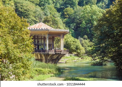 NEW ATHOS, ABKHAZIA, GEORGIA, 19 SEPTEMBER 2017: The Psirtskha Railway Station - view from the opposite shore of the river