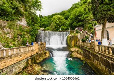 NEW ATHOS, ABKHAZIA - JUNE 11, 2017:Dam waterfall in New Athos, Abkhazia
