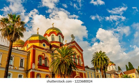 NEW ATHOS, ABKHAZIA - OCTOBER 10, 2015: new Athos monastery of St. Simon the Canaanite monastery in the sunshine in OCTOBER 10, 2015, New Athos, Abkhazia.