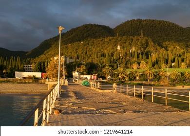 New Athos, Abkhazia-November 20, 2016: urban landscape of New Athos in Abkhazia at sunset