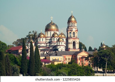 New Athos Monastery in mountains. View from the Iberian mountains to the city of New Athos and the Black Sea.