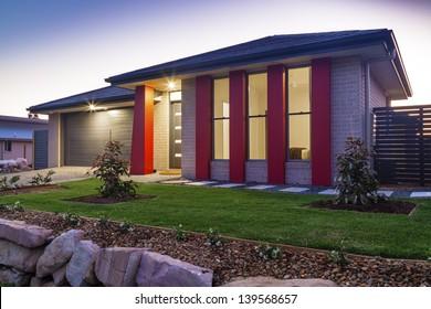 New australian townhouse front at dusk