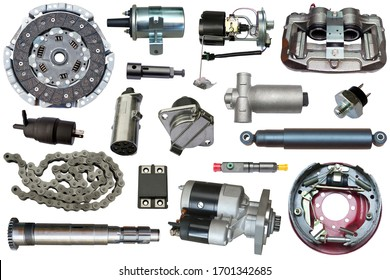 A lot of new auto parts isolated on a white background. Autoshop.