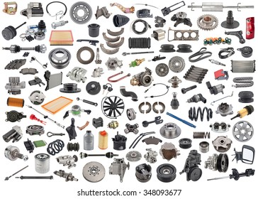 lot of new auto spare parts. car shop