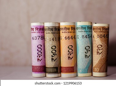 A new banknote of India with a denomination of 2000,10,50,200 500 rupees. Indian currency. Mahatma Gandhi and rosary