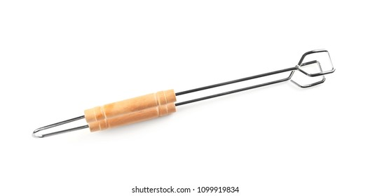 New barbecue tongs with wooden handle on white background