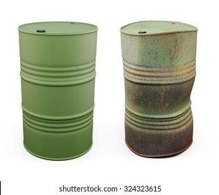 New barrel for oil and an old rusty barrel next isolated on white background. 3d illustration.