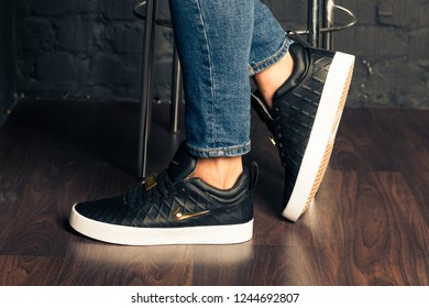 New beautiful colorful and nice Nike Air Max running shoes, sneakers, trainers shows the logo with a brand box on abstract background. Sport and casual footwear concept. Kyiv, Ukraine-August 23, 2018 - Shutterstock ID 1244692807