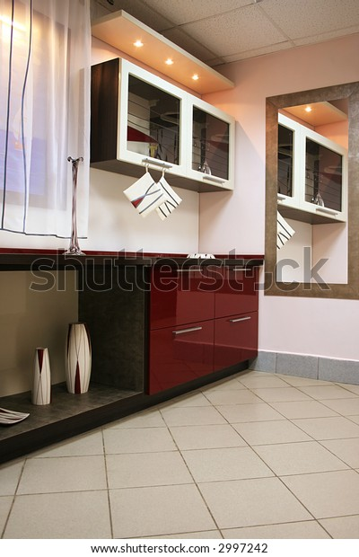 New and beautiful furniture in modern kitchen