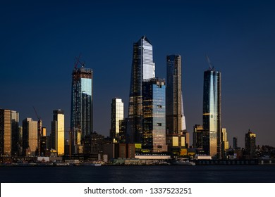 New beautiful skyscrapers in New York at night