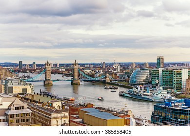 New Beautiful Urban View of London, England with Tower Bridge, City Hall and Thames River