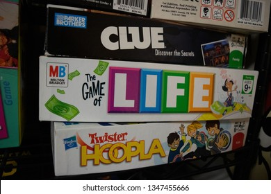 New Bedford, MA March 22, 2019: Clue, Game of Life and Twister Hoopla board games