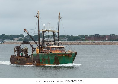 New Bedford, Massachusetts, USA - August 13, 2018: Commercial fishing vessel Resolute returning to port