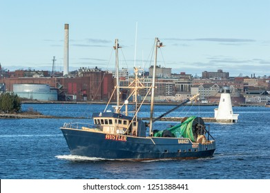 New Bedford, Massachusetts, USA - December 4, 2018: A newly repainted Hustler heads out of New Bedford on a cold December morning