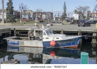 New Bedford, Massachusetts, USA - December 26, 2017: Heavily modified cabin on fishing boat Honi-do on New Bedford waterfront